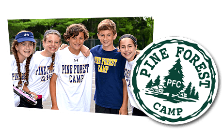 Pine Forest Camp logo and photo